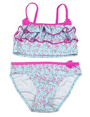 Echinodon Mädchen Bademode 2tlg Bikini Set Schwimmanzug mit Rüschen Badeanzug mit Muster 128
