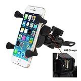 Universal Motorrad Halterung Telefon Mount Halter USB Ladegerät für iPhone, Samsung, GPS Gerät JUX1