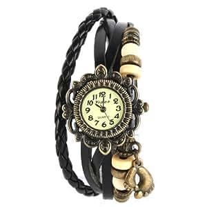 YESURPRISE Montre quartz Vintage Avec pendentif Pied Knitted Bracelet en cuir Classique Bronze cadran 6 couleurs -1