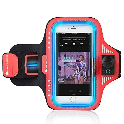 GreatShield GLO LED Neopren-Sport-Armband für Motorola Moto G6 / G6 Play / G6 Plus, Samsung Galaxy S7 Edge und andere 5.5