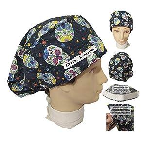 Hüte OP-Mützen Mexikanische Schädel langes Haar, Chirurgie, Zahnarzt, Tierarzt, Küche, etc. Handtuch vorne, verstellbar. Benutzerdefiniert mit Namen in Option