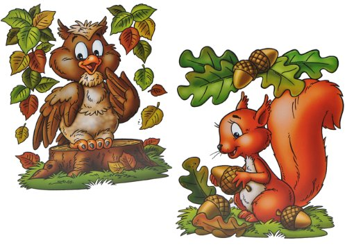 Unbekannt 3 Stück: XL Fensterbilder Herbst - Eichhörnchen / Eule / Igel / Vogelscheuche - Sticker Fenstersticker / Aufkleber selbstklebend & statisch haftend - Fensterb.. -