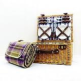 Henley 4 persone attrezzato cestino di vimini da picnic con viola coperta impermeabile scozzese - Regalo per la festa della mamma