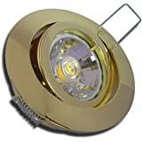 6er Set 3Watt Decken Einbauleuchte Lana 230Volt COB LED Warmweiß EEK A+ Schwenkbar Einbautiefe 65mm Farbe Gold