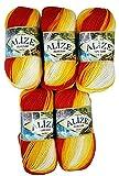 5 x 100 Gramm Alize Burcum Batik Wolle rot gelb weiß. mit Farbverlauf, Nr. 4429, 500 Gramm Strickwolle