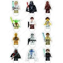 12 x Cakeshop decoración para pasteles comestibles PRECORTADAS de Lego Star Wars