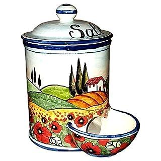 CERAMICHE D'ARTE PARRINI- Italienische Kunstkeramik, jar salz Dekoration Landschaft Mohnblumen, handgemalt, hergestellt in Italien Toscana