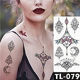 5Pc-Trasferimento Dell'Acqua Acchiappasogni Colorati Adesivo Per Tatuaggi Fiore Di Vite Blu Motivo Body Art Tatuaggi Impermeabili Con Tatuaggio Da U 08
