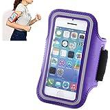 Brassard Sport Housse Etui-brassard pour Jogging Gym Ridding pour vélo de course à pied pour Apple iPhone 5/5S/5C/4/4S Violet foncé