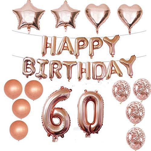 60 Decoraciones de cumpleaños Kit Foil Globo 60 Decoraciones de cumpleaños Oro rosa para niñas Suministros para la fiesta de cumpleaños Feliz cumpleaños Confeti Feliz cumpleaños 60 Banner de letras