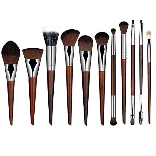 Hrph 11pcs Mode Féminine Pinceaux de Maquillage Main Pure Pinceaux Poudre Correcteur Sourcils Cils Eyeliner Blush Brush