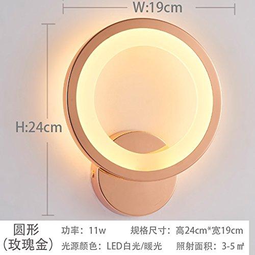 HONGLIEinfache und moderne Wandlampe, Nachttischlampe, Schlafzimmerwandlampe, kreativer LED Acryl des Wohnzimmers, Treppenhaus, Gang, Nachtlicht, circle (rose gold frame) 11w neutral light