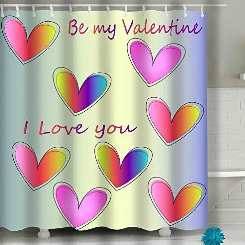 Xunulyn Beach Shower Curtain Colored Heart Icons Blue Gradient Happy Valentine s Day Cute Romantic Greeting Card Fabric Bathroom Decor 60 X 72 Inch (Nautische Valentine Karten)