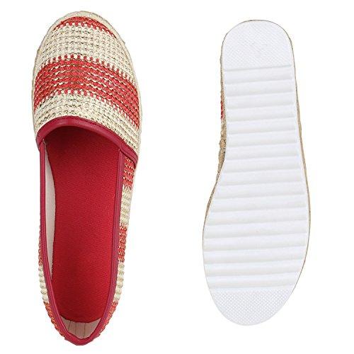 Damen Espadrilles | Bast Slipper | Glitzer Sommerschuhe | Metallic Flats Pailetten | Stoff Schuhe Plateau Rot Streifen