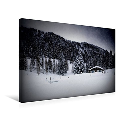 Calvendo Premium Textil-Leinwand 45 cm x 30 cm Quer, Wintermärchen HEMMERSUPPENALM VIII (schwarz) | Wandbild, Bild auf Keilrahmen, Fertigbild auf Echter Almhütte im Schneegestöber Natur Natur