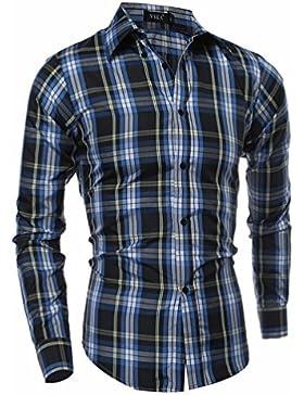 Grandes compartimentos hombres casual, camisa de manga larga de tejido SAN SAU