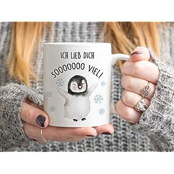 Bedruckte Tasse mit Pinguin und Spruch Ich lieb dich so viel