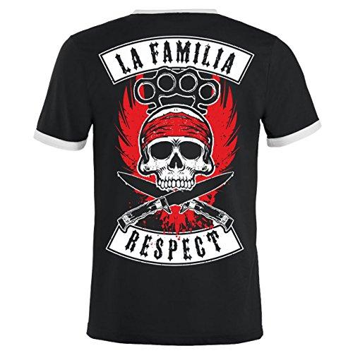 Männer und Herren T-Shirt La Familia RESPECT (mit Rückendruck) Schwarz/Weiß