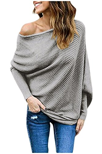 Zaywind Damen Sexy Sweatshirt Bat Sleeves Cardigan Casual Knit Pullover Off Shoulder Top Farbe Grau Gr. S (Cardigans, Pullover Für Damen)
