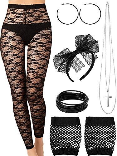 Kostüm 80's Madonna - Blulu 80 Jahre Kostüm Set, Ohrring Halskette, Handschuhe, Spitze Legging, Armband für Party