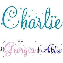 Personalised Name With Stars - Wall Decal Art Sticker playroom bedroom nursery (Medium) by