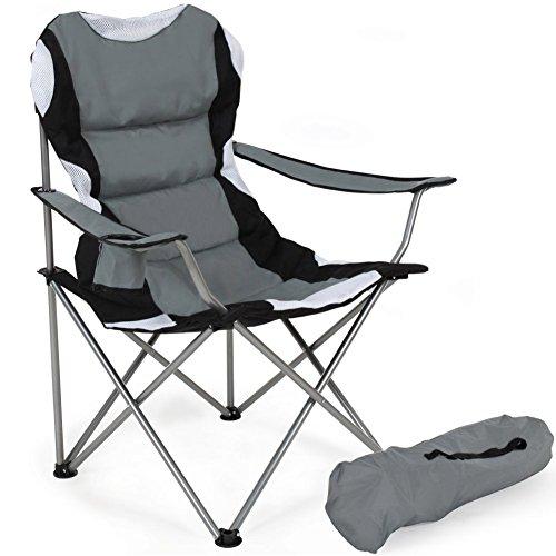Bakaji sedia pieghevole da campeggio imbottita con borsa camping sedia mare spiaggia pesca giardino da esterno in acciaio e poliestere con vano porta bibite e smartphone (grigio)