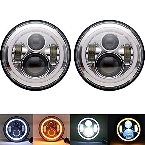 Homedox Jeep Wrangler Headlights 7 Inch Round LED Headlight Conversion Kit DLR Light Assembly for JK TJ FJ Hummer Trucks Motorcycle Headlamp - Super Bright LEDs Headlamps H4 to H13 Adapter
