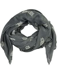 Women large owls printed scarves (Grey)