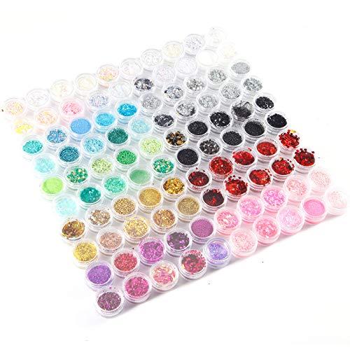 SurePromise 100 pots de paillettes ongles nail art 10 couleurs x 10 sortes glitter