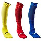 Fußball Socken für Männer und Frauen Fussballsocken Sport Kompressionssocken Fußballschuhe Baumwolle elastisch atmungsaktiv gepolsterte Steppdecke Wachstumsraum Hochkniestrümpfe 3er Packung (gelb / rot / blau)