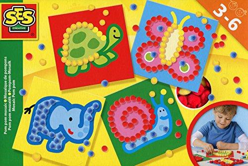 SES creative 14611 - Ich lerne Pom Pom Mosaike, Kinder Bastelset, gelb