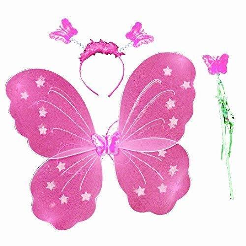 3-7 anni - set costume - travestimento - carnevale - halloween - teatro - ali di farfalla - fata - cerchietto - bacchetta magica - rosa - bambina