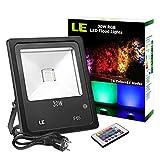 LE 30W RGB Flutlicht, 16 Farben und 4Modi Strahler, IP65 wasserdicht Deko Beleuchtung, Außenleuchten mit europäischer Stecker