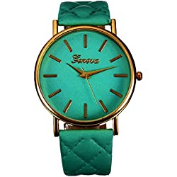 WINWINTOM Women Roman Leather Quartz Wrist Watch Green
