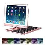"Cstorm 9.7"" New iPad 2017 Bluetooth Wireless Smart Keyboard Case 7 Color LED"