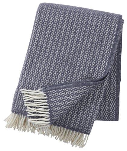 KLIPPAN Creme-graue Wolldecke \'Rumba\' aus Öko Lambswool, 130x200cm