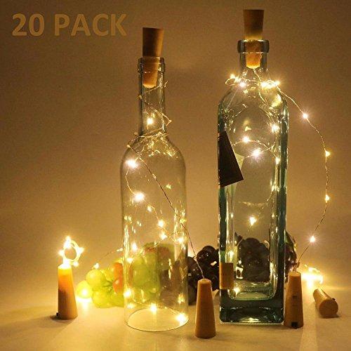 20 Stück Flaschenlicht Weinflaschen Lichter Kork Weihnachten Flasche Dekoration 200cm 20LEDs Lichterkette DIY...