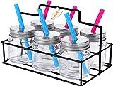 6 Mini Trinkgläser mit Trinkhalm inkl Servierkorb - Ideal für Kinder oder Shots