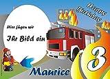 Tortenauflage Feuerwehr Mottoparty mit Foto, Name +Alter, eckige Kuchenauflage