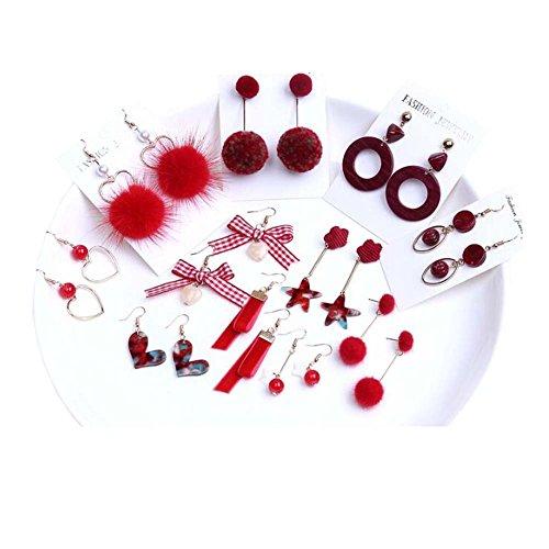 Boucle d'oreille Accessoires Kit DIY Boucles d'oreilles à la main Matériel clip d'oreille (série rouge)