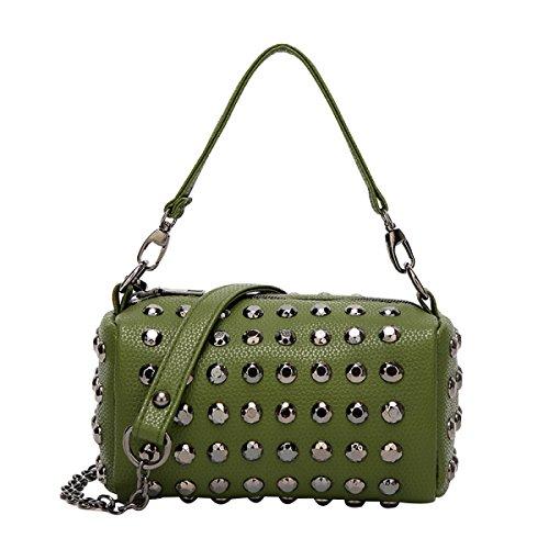 Frauen Nieten Boston Taschen Mode Umhängetasche Handtaschen ArmyGreen