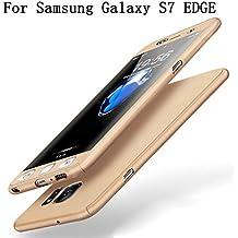Samsung Galaxy S7 EDGE Coque Protection Souple PC 2 en 1 Full Cover Adamark 360 Housse Integrale Bumper Etui Case Accessoires Ultra Fin Et Discret Pour Samsung Galaxy S7 EDGE(Sans protecteur de film en verre trempé) (or)