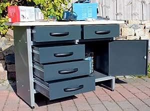 gro e feilbank werkbank werkplatz werktisch werkstatt montagebank werkzeug tisch metall amazon. Black Bedroom Furniture Sets. Home Design Ideas