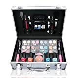 Lanudo© Luxus Schminkkoffer Make-Up Set, 53 teilig, Make-Up Set im edlen Alu-Look, Kosmetikkoffer Farbenfroh