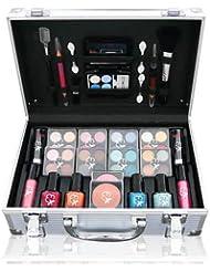 Lanudo© Luxus Schminkkoffer Make-Up Set, 53 teilig, Make-Up Set im edlen Alu-Look, Kosmetikkoffer Farbenfroh