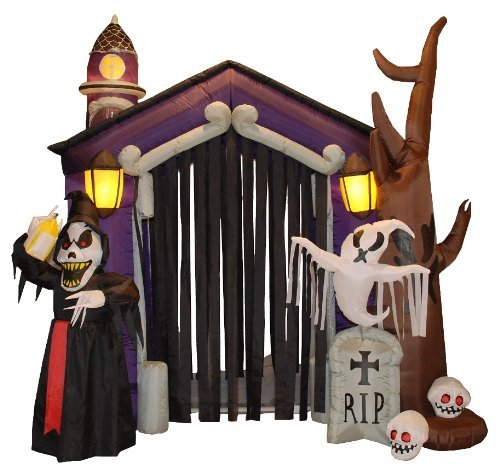 8.5 Foot Halloween Inflatable Haunted House Castle with Skeletons, Ghost and Skulls Yard Decoration by BZB (Halloween Inflatables)