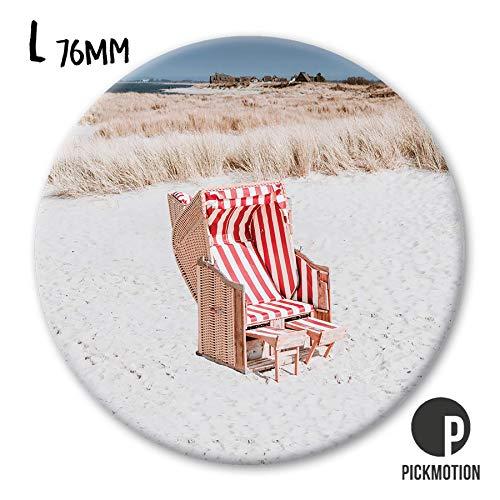 Pickmotion Design Magnete - rund 76mm - Motiv: Ferien Strand Strandkorb