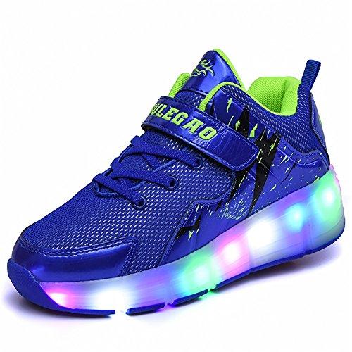 Ali-Ton LED USB Rechargeable garçons Filles Patins à roulettes avec Double Roues rétractable Skateboard Rollerblades Sports de Plein air Croix