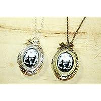 Zwei Schwestern - Scherenschnitt Freundschafts Medallion Kette, 70cm, bronze- oder silberfarben, Glücksbringer Freundschaftskette, ein süßes handgefertigtes Geschenk für die Schwester oder beste Freundin