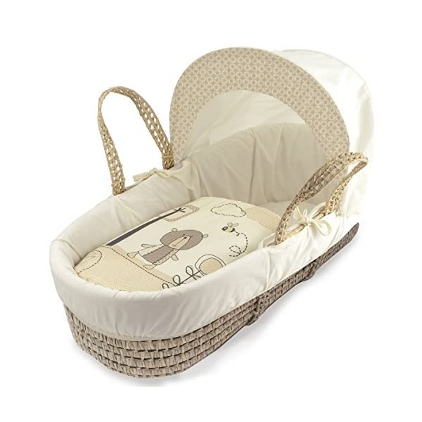 Beary Nice Cream Palm Moses Basket & Folding Stand Elegant Baby Suitable from newborn for up to 9kg, this Moses Basket uses Easy-care Poly Cotton with a soft padding surround Suitable from newborn to 9 months It also includes a comfortable mattress and an adjustable hood perfect to create a cosy sleeping space for your precious little one 3